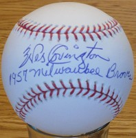 WES COVINGON (d( SIGNED MLB BASEBALL w/ 1957 Braves