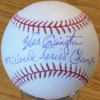 WES COVINGON (d) SIGNED MLB BASEBALL w/ 1957 WS Champs