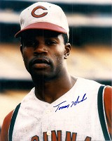 TOMMY HARPER SIGNED 8X10 REDS PHOTO